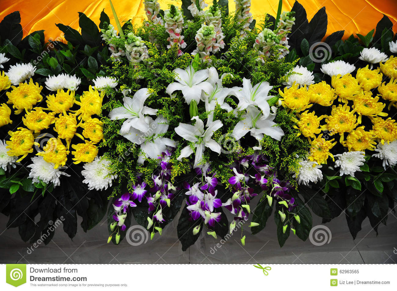 Funeral flowers for condolences stock image image of daisy bulbs chinese funeral flowers for condolenceswhite and yellow chrysanthemumwhite lily izmirmasajfo