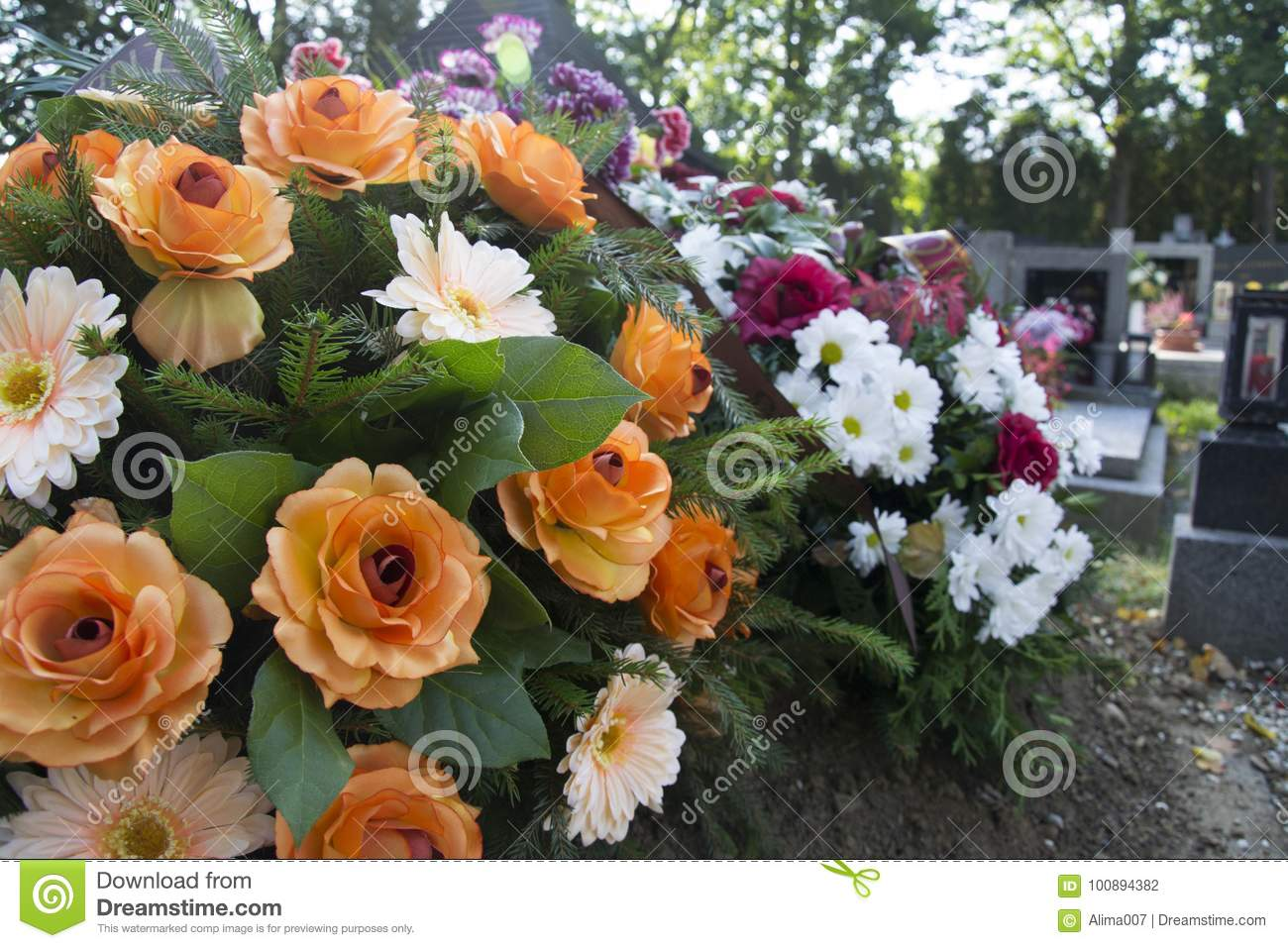 Funeral Flowers Flowers On The Grave Stock Photo Image Of Bunch