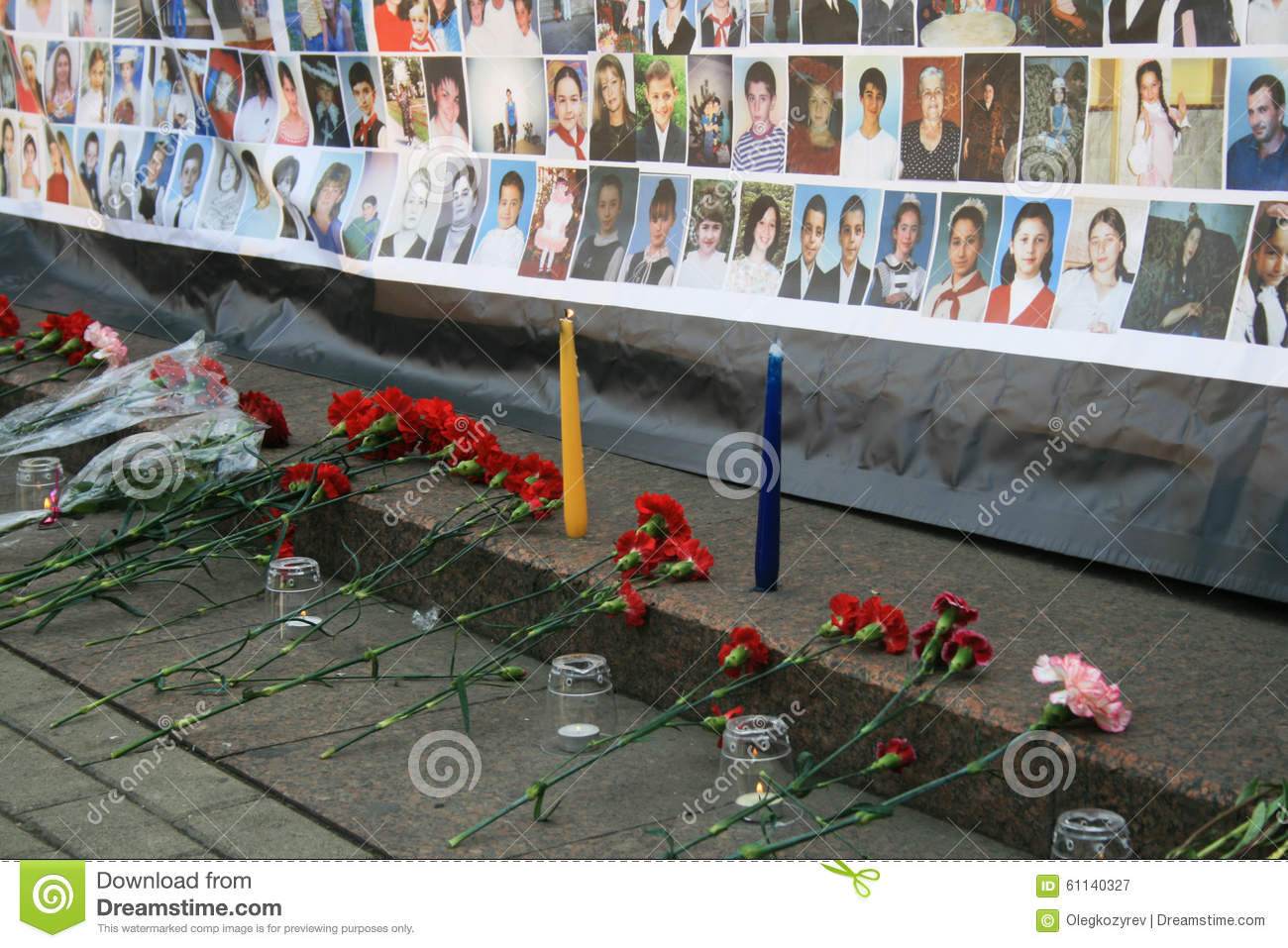 Funeral flowers near a poster with pictures of editorial photography download funeral flowers near a poster with pictures of editorial photography image of people izmirmasajfo