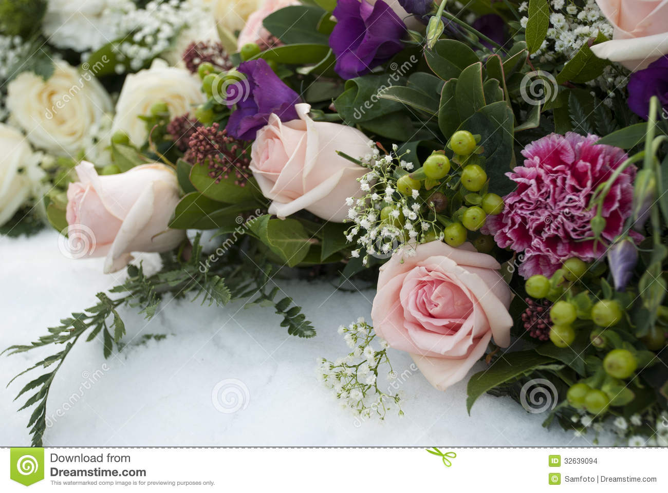 Funeral Flowers In The Snow On A Cemetery Stock Photo Image Of