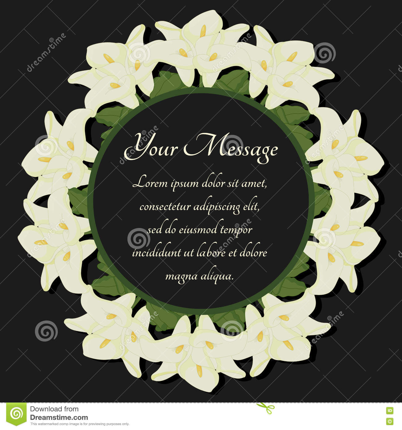 Funeral frame mourning illustration with flowers calla lilies funeral frame mourning illustration with flowers calla lilies kristyandbryce Images
