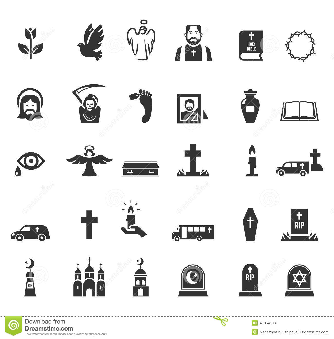 Funeral Icons Stock Vector Illustration Of Halloween