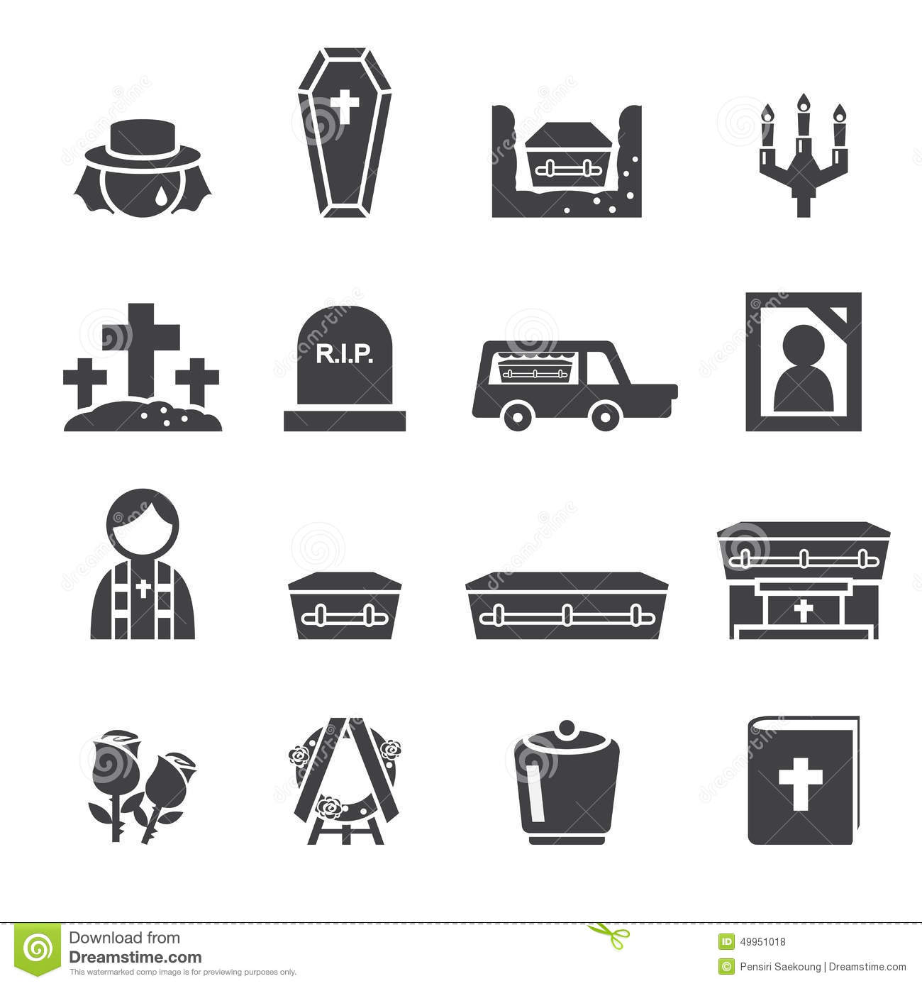 funeral icons stock vector illustration of pastor cross 49951018 rh dreamstime com
