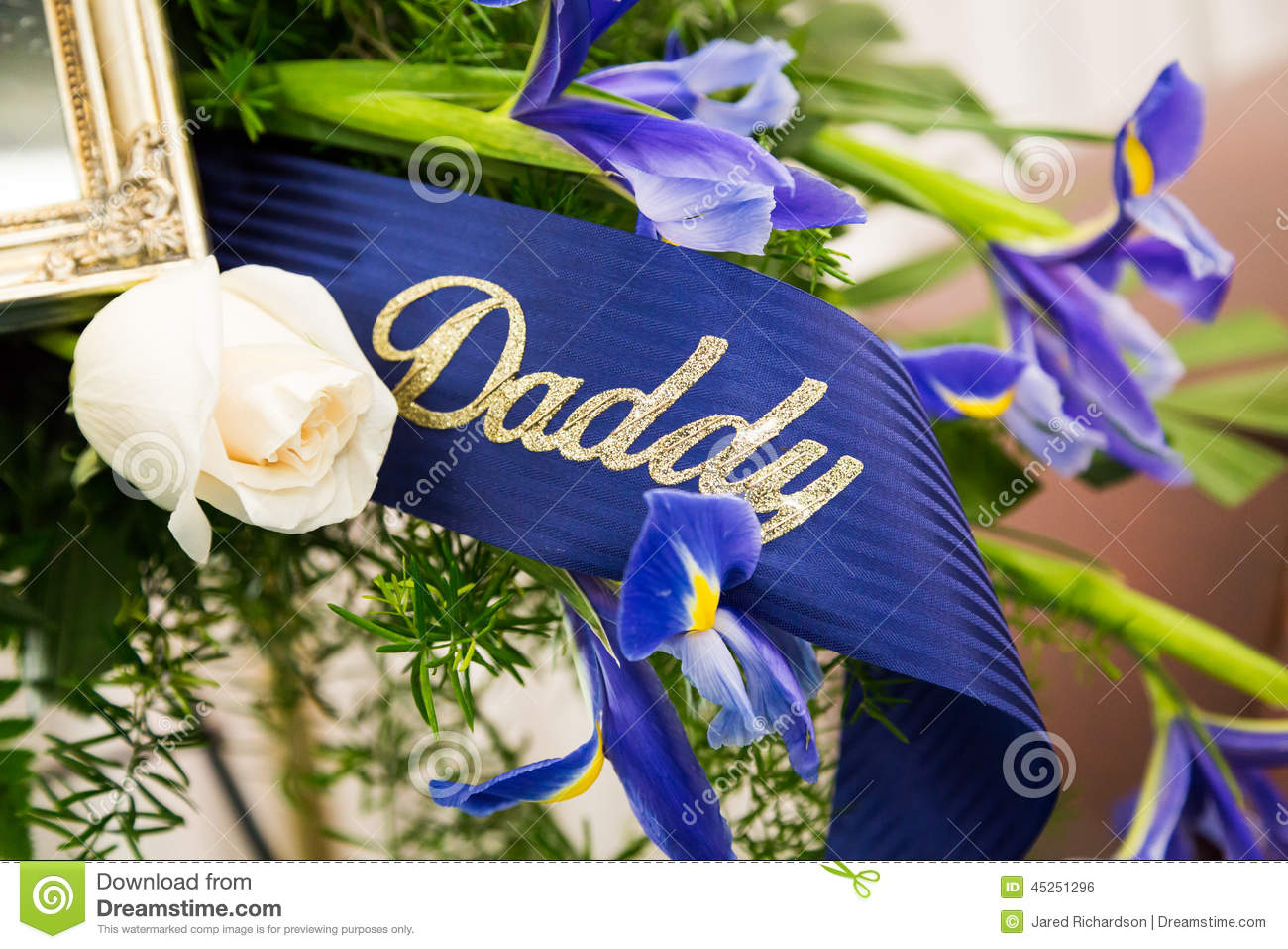 Funeral ribbon daddy stock photo image of daddy dolor 45251296 funeral ribbon daddy izmirmasajfo Images