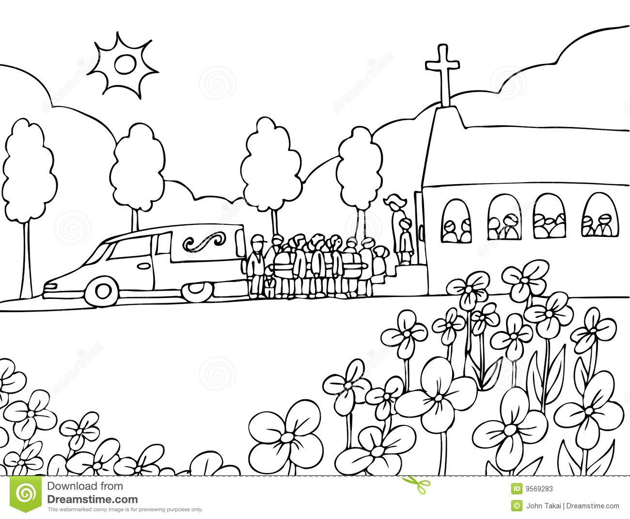 Funeral Service Event Black And White Stock Vector