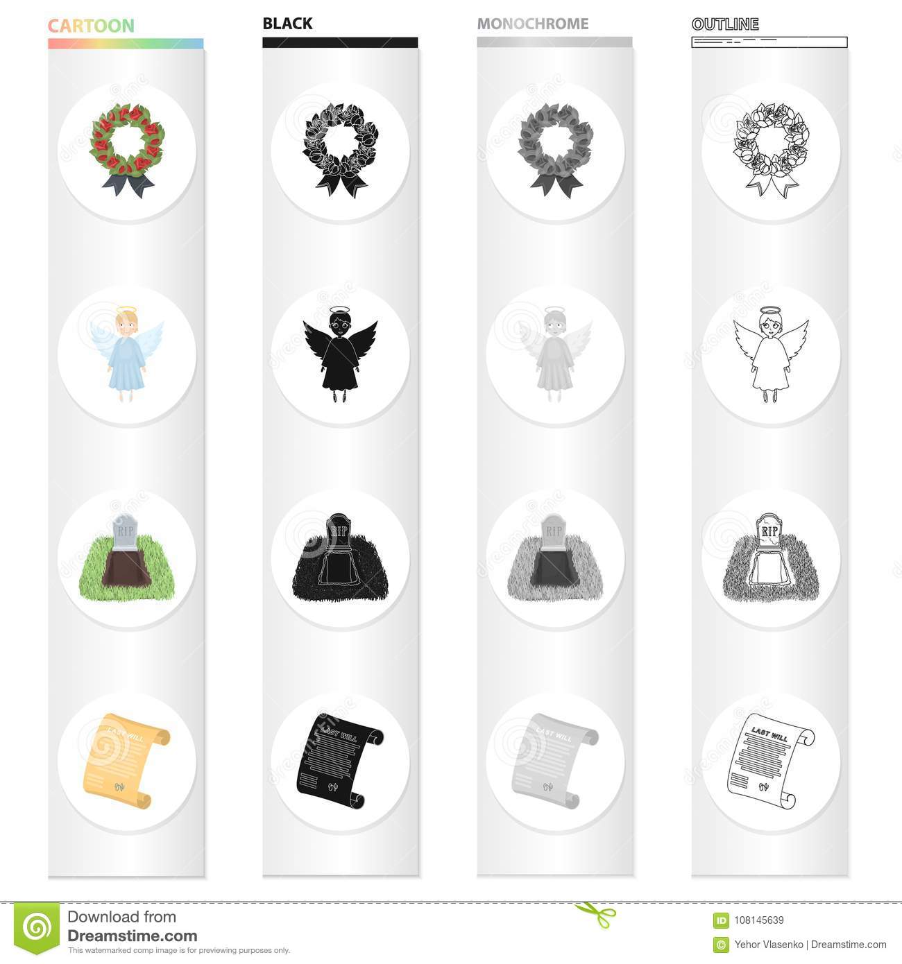 Funeral wreath, angel, grave in the cemetery, testament of the deceased. Funeral Ceremony set collection icons in