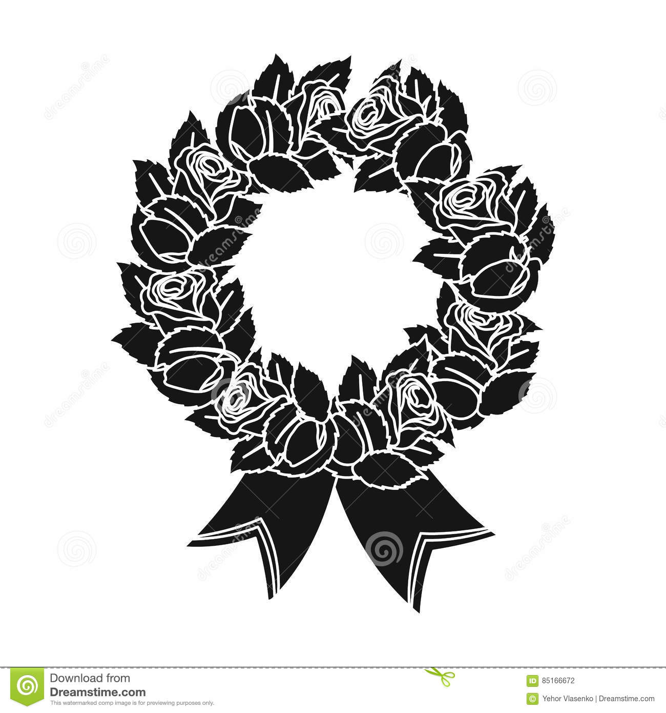 Funeral Wreath Black And White Stock Vector Illustration Of