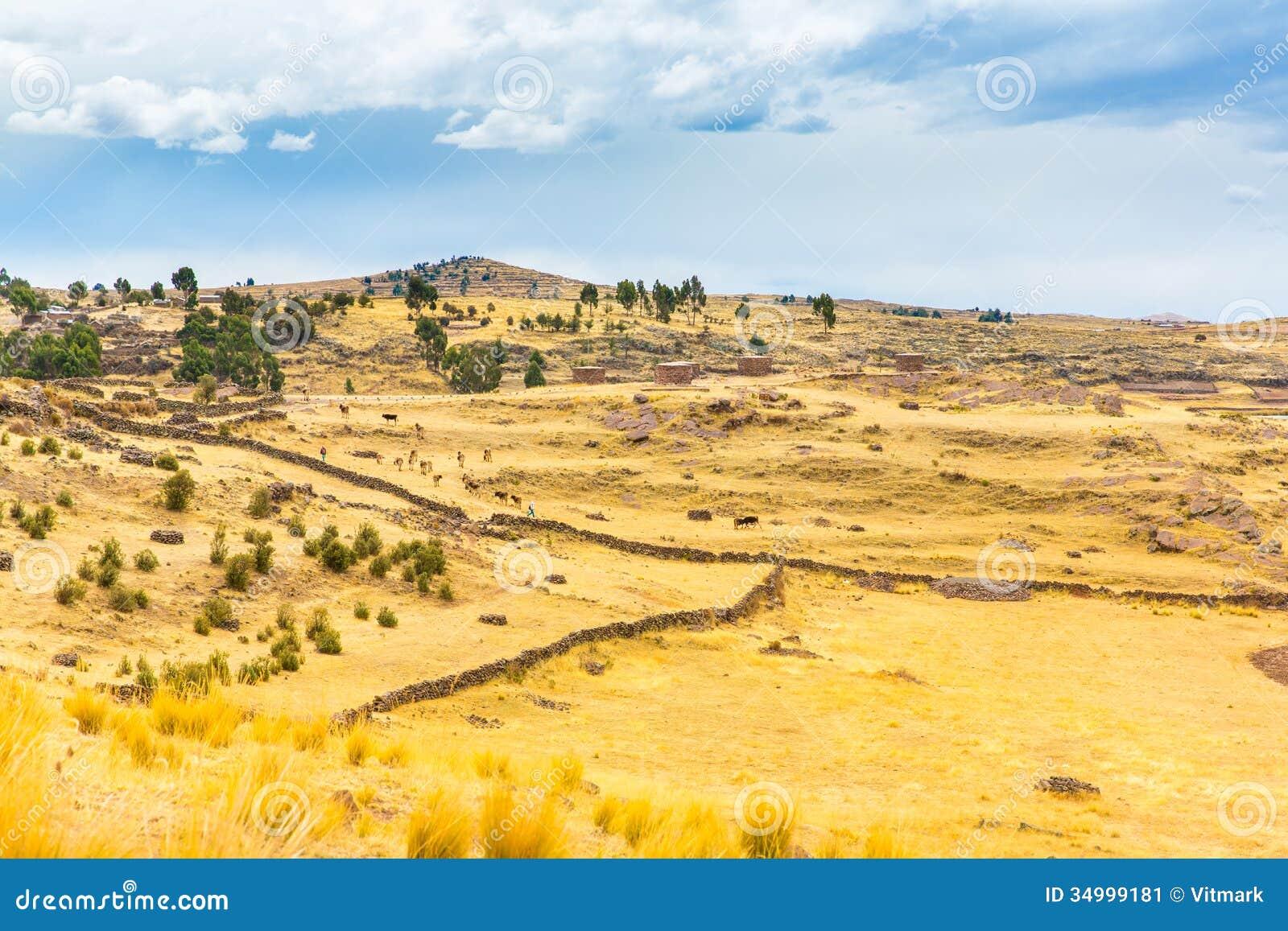 Funerary towers in Sillustani, Peru,South America- Inca prehistoric ruins near Puno