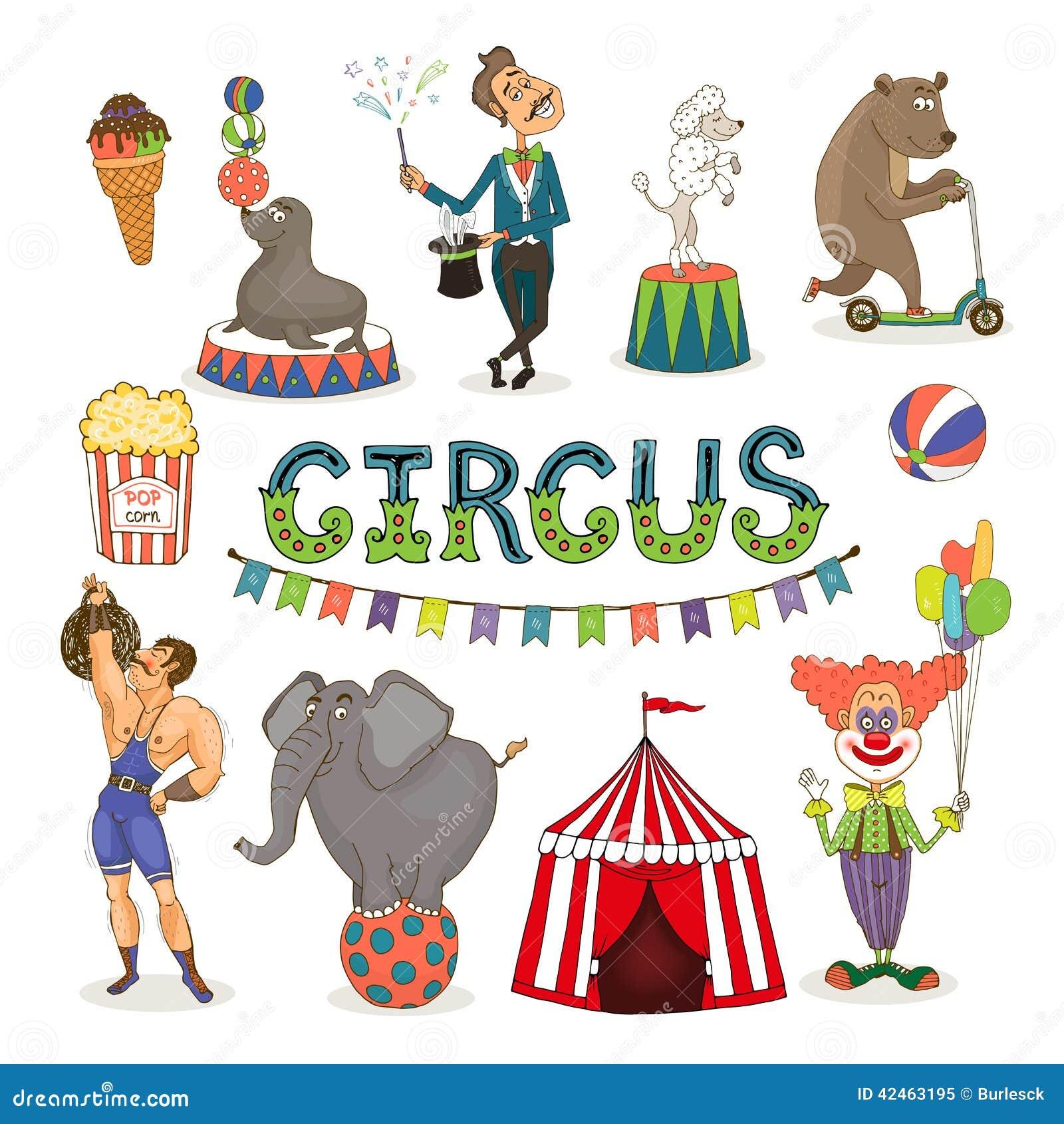 Funfair del circo del vector y sistema del icono del parque de atracciones