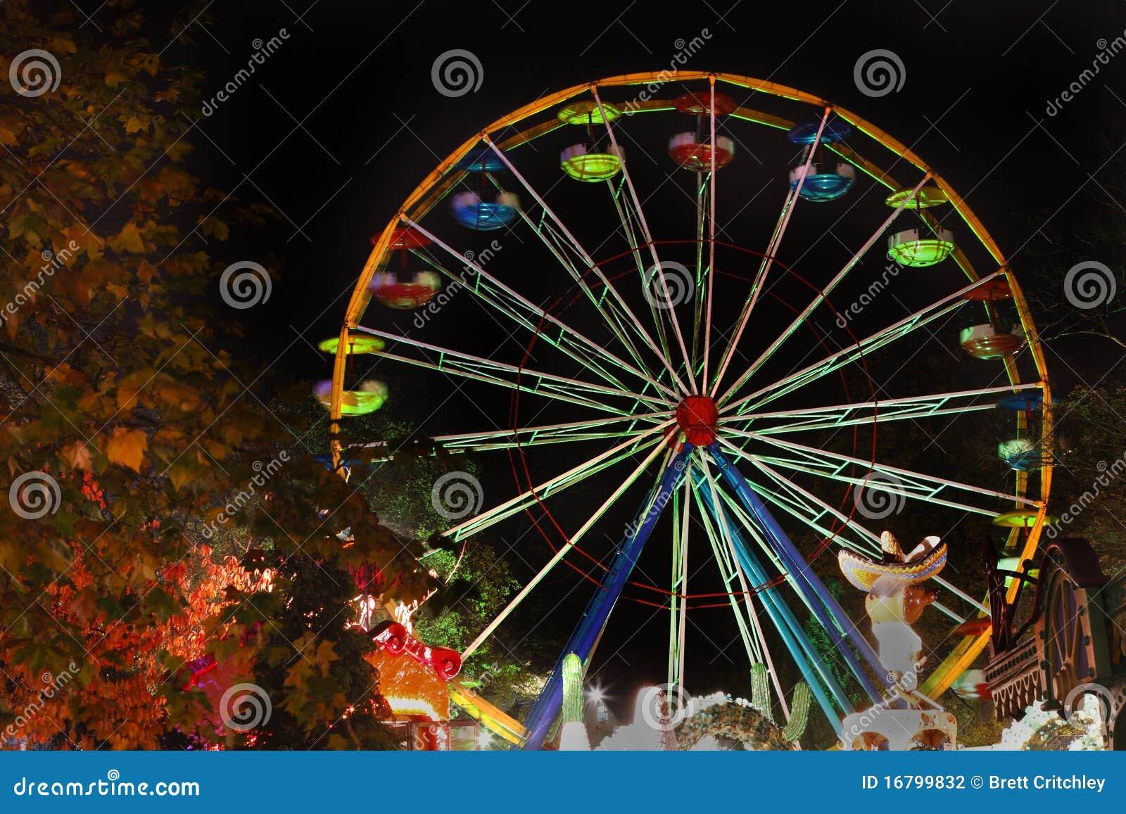 Funfair Ferris wheel at night