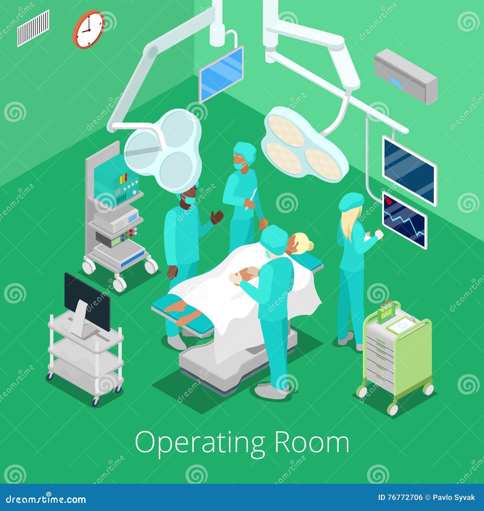 Fungeringsrum för isometrisk kirurgi med doktorer på operationprocess