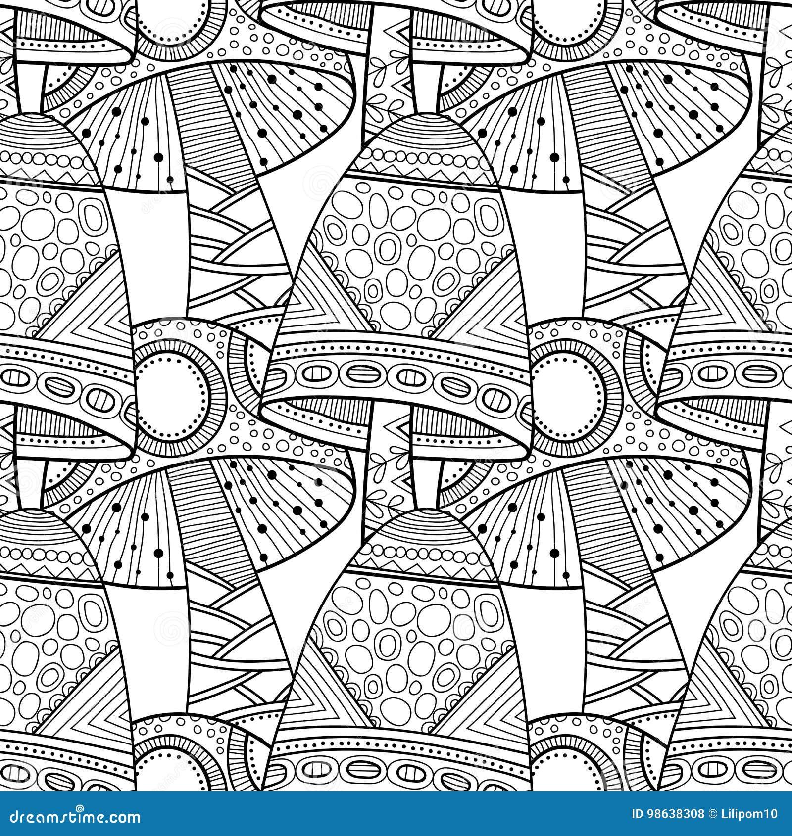 Funghi Illustrazione In Bianco E Nero Modello Senza Cuciture Per Il
