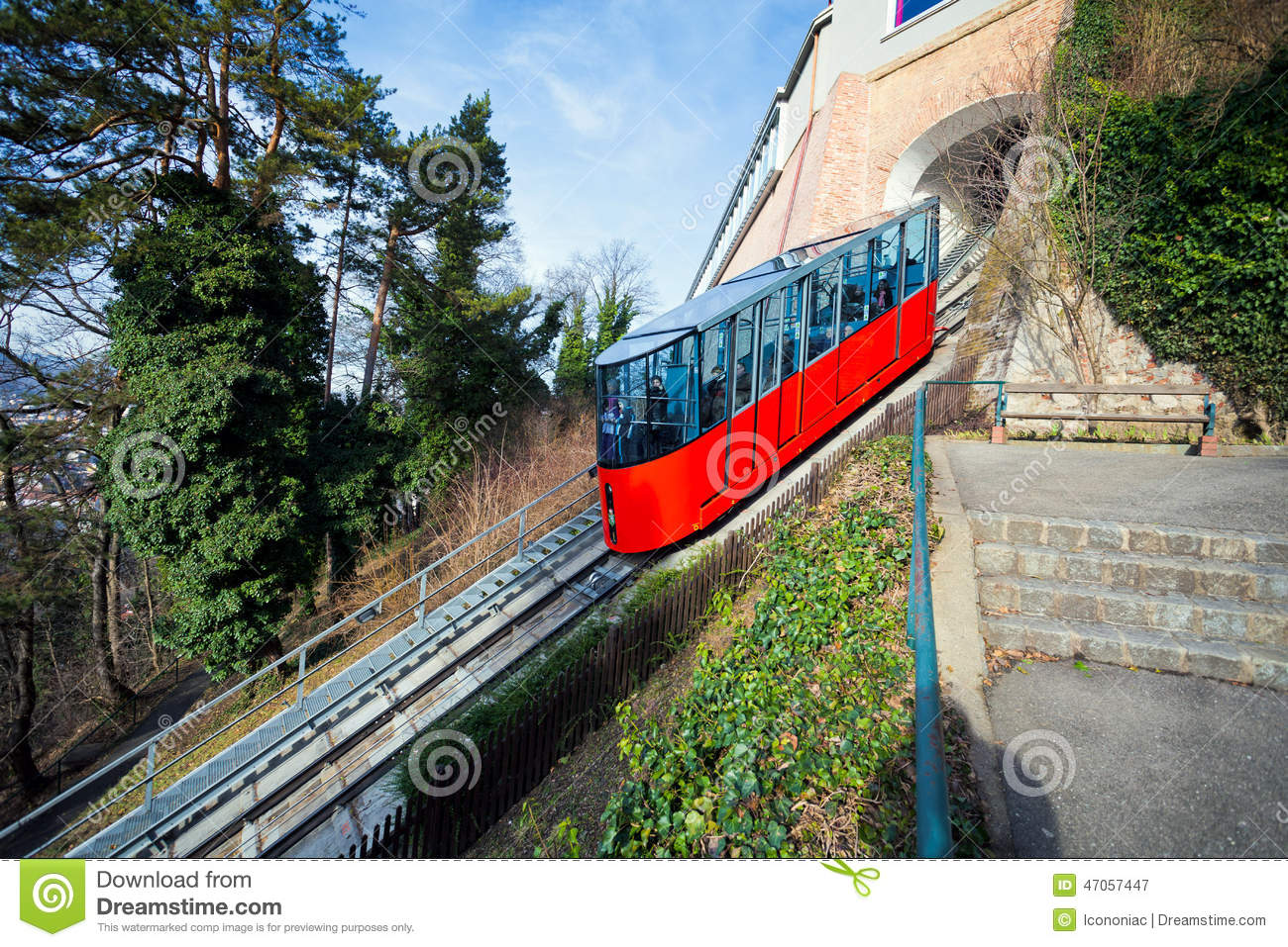 Funicular Climbing To Schlossberg And Graz City Panoramic View Editorial Photography - Image ...