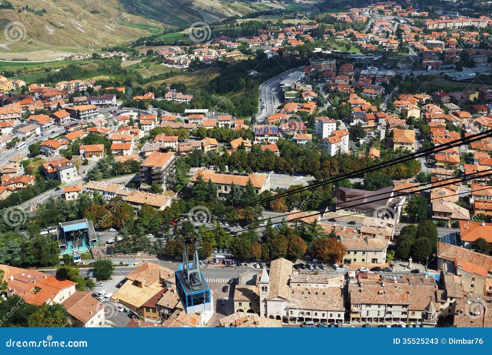 Funicular przeciw panoramie San Marino, Europa