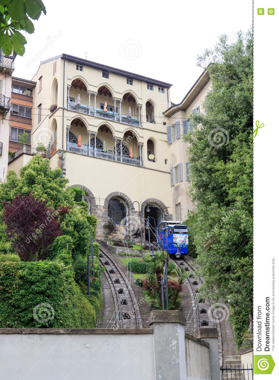 Funicular cable railway isometric view vector cartoon for Bergamo toons