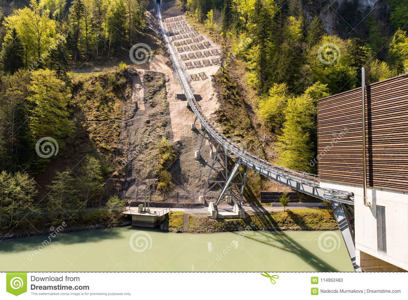 Funicular Railway Connecting The Village Of Stoos And The Town Of Schwyz In Switzerland Lower Station Funicular Railway Stock Image Image Of Peak Alpen 114952483