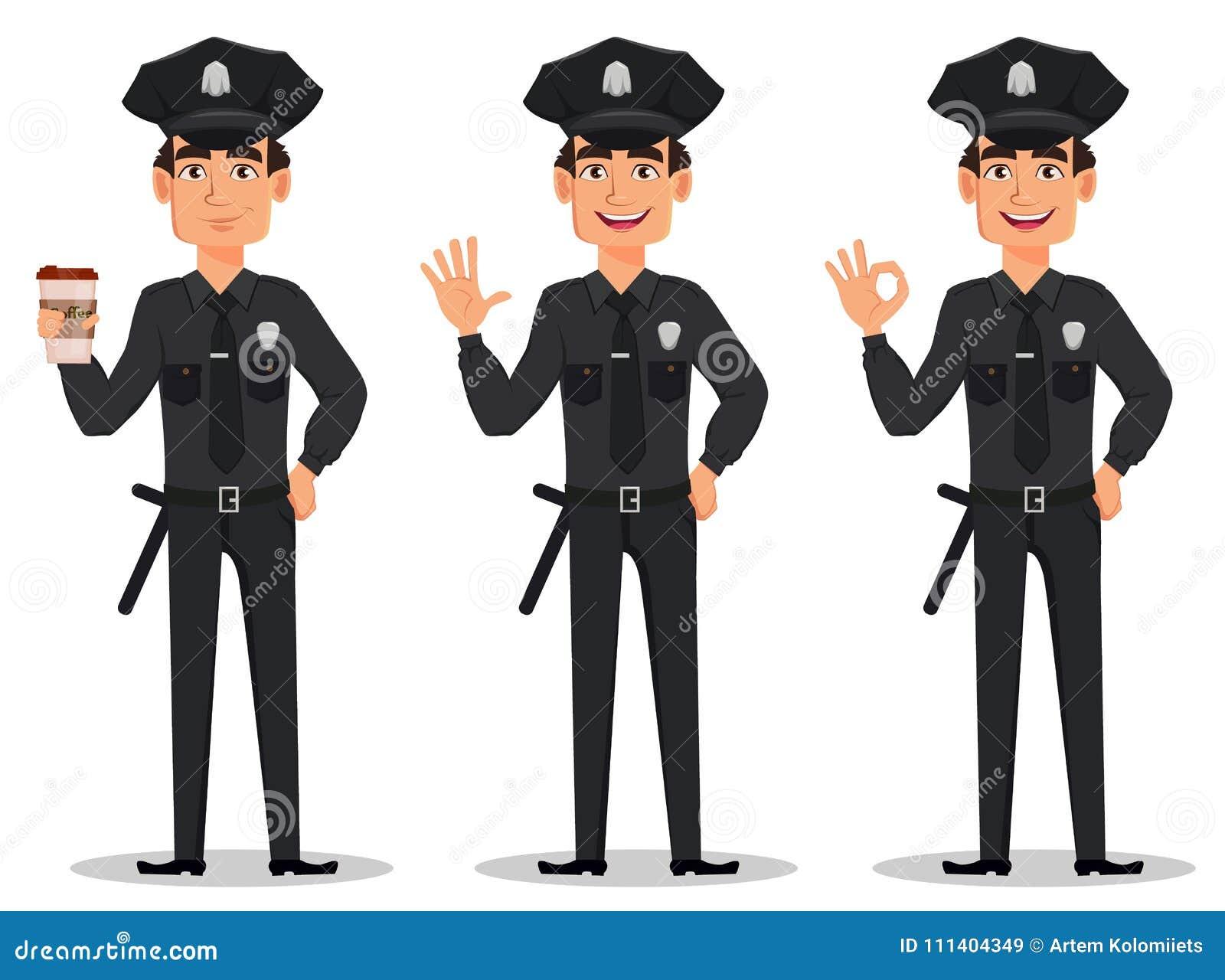 Funkcjonariusz policji, policjant Set macha rękę i pokazuje ok znaka postać z kreskówki policjant z filiżanką kawy,