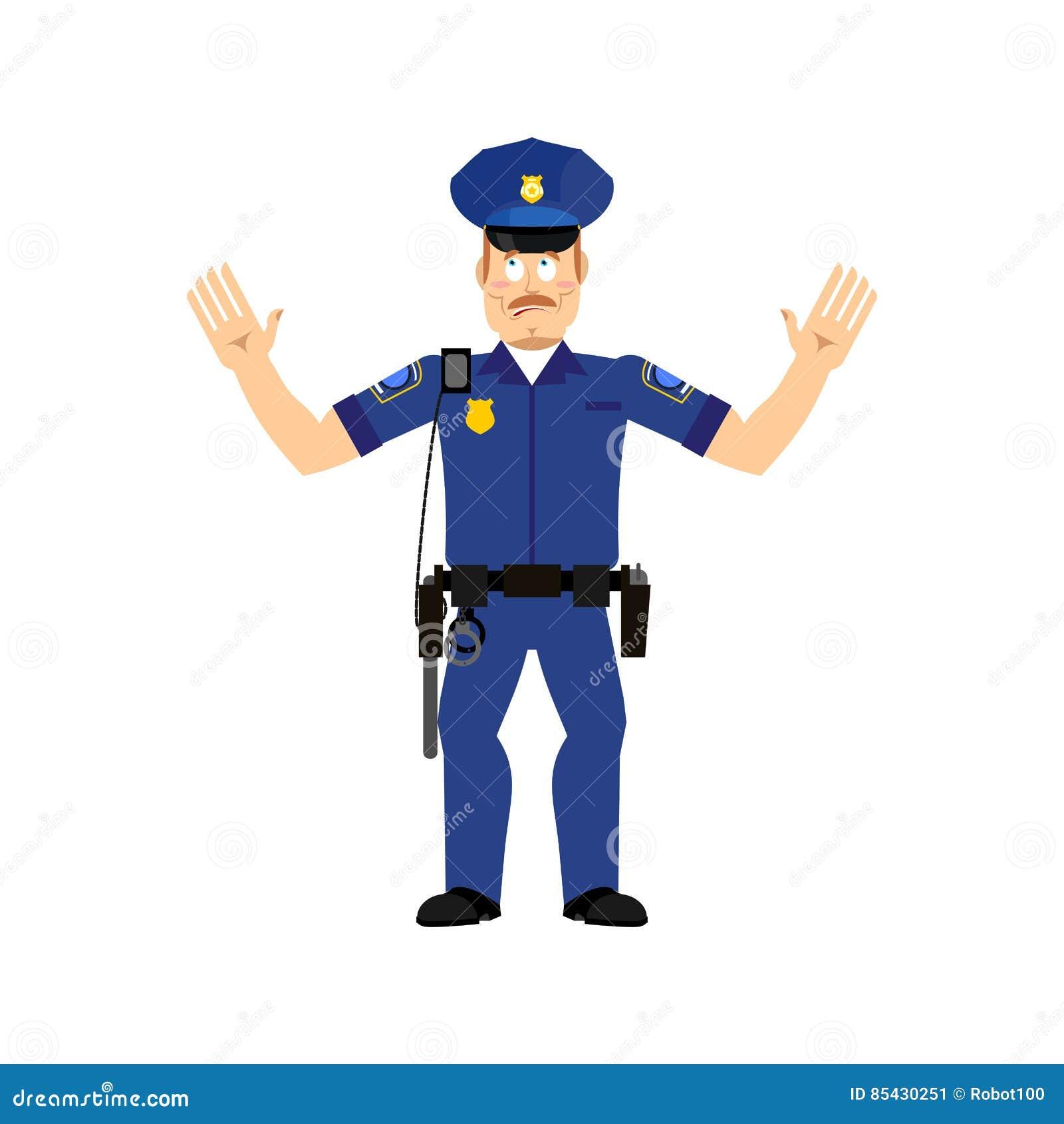 Funkcjonariusz policji zaskakujący odizolowywającym Policjant zdumiewająca emocja