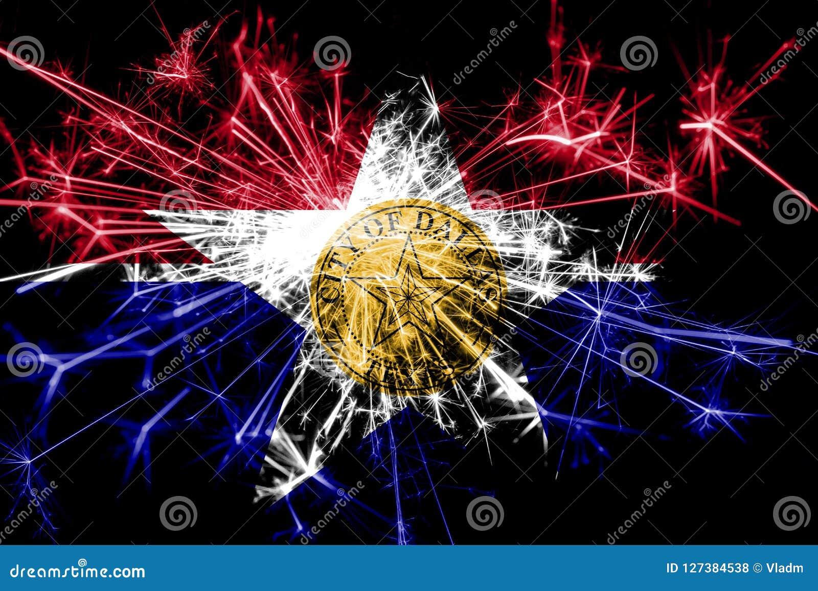 Funkelnde Flagge Feuerwerke Dallas, Illinois Konzept des neuen Jahres 2019 und des Weihnachtsfests