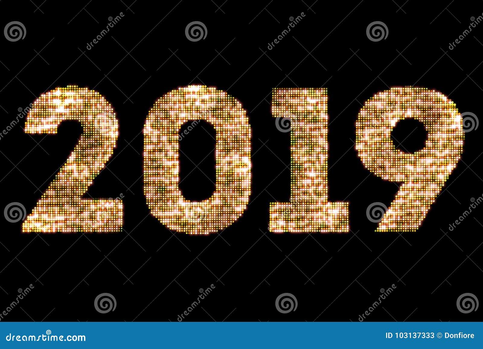 Funkelnlichter der Weinlese sparkly gelbes Goldund glühender Effekt, die Worttext LED-guten Rutsch ins Neue Jahr 2019 auf schwarz