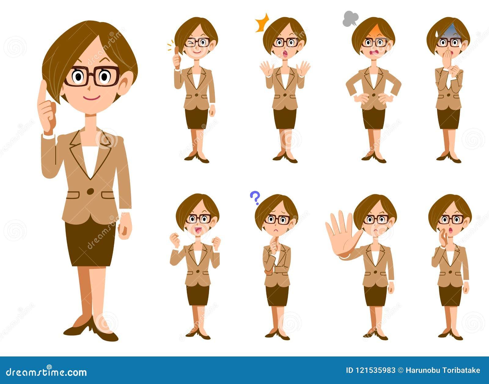 Funktionsdugliga kvinnor med glasögon 9 gör en gest och ansiktsuttryck