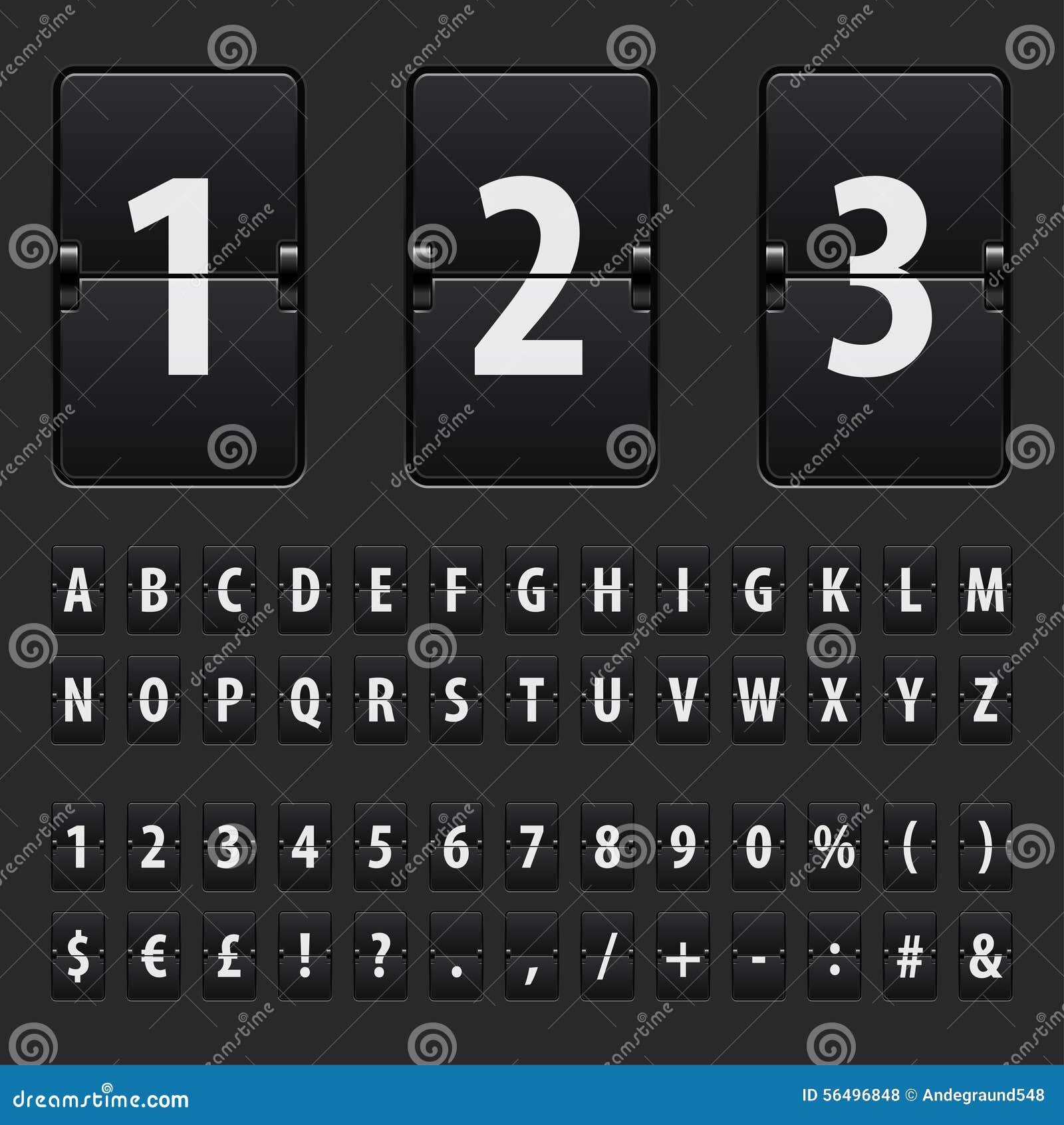 Funktionskortbokstäver, nummer och symboler för Flip svarta