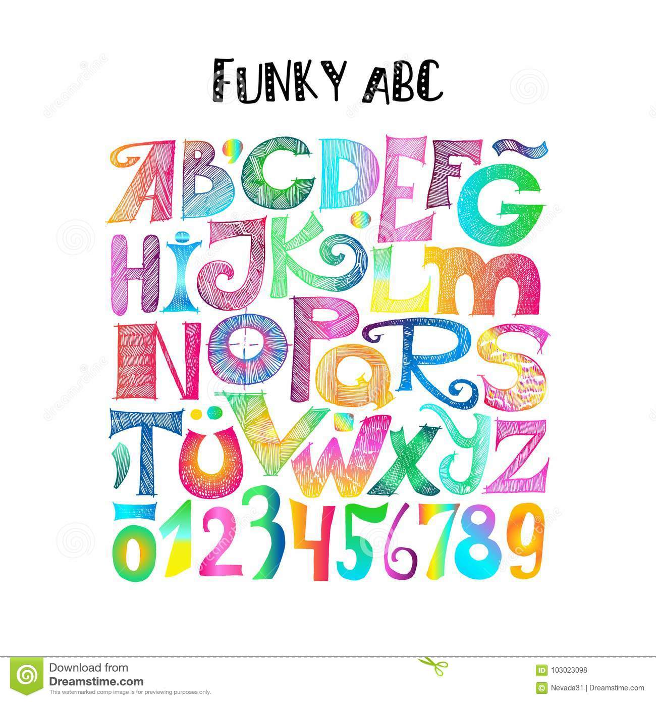 Download Funky ABC Sketchy Letters And Numerals Stock Vector