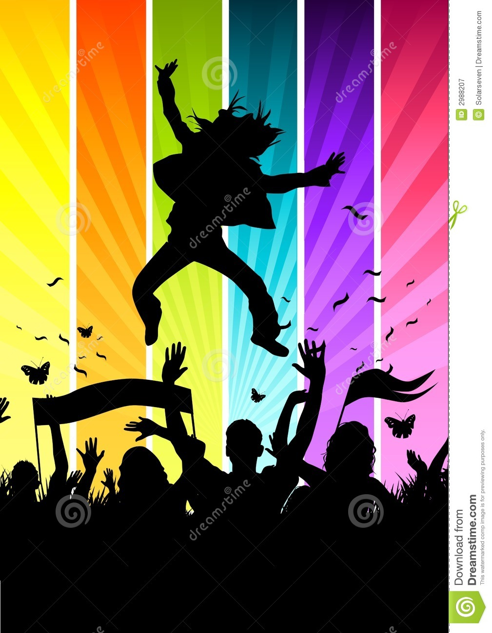 Funky Colourful Crowd ... Rock Clipart Black And White