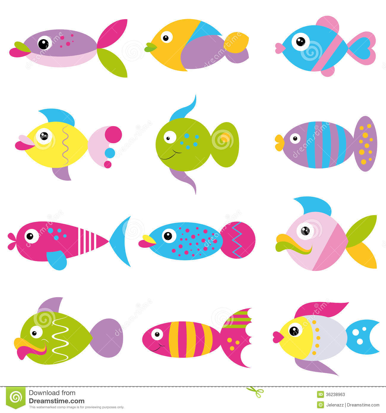 Funky Fish Collection Pattern Stock Photos Image 36238963