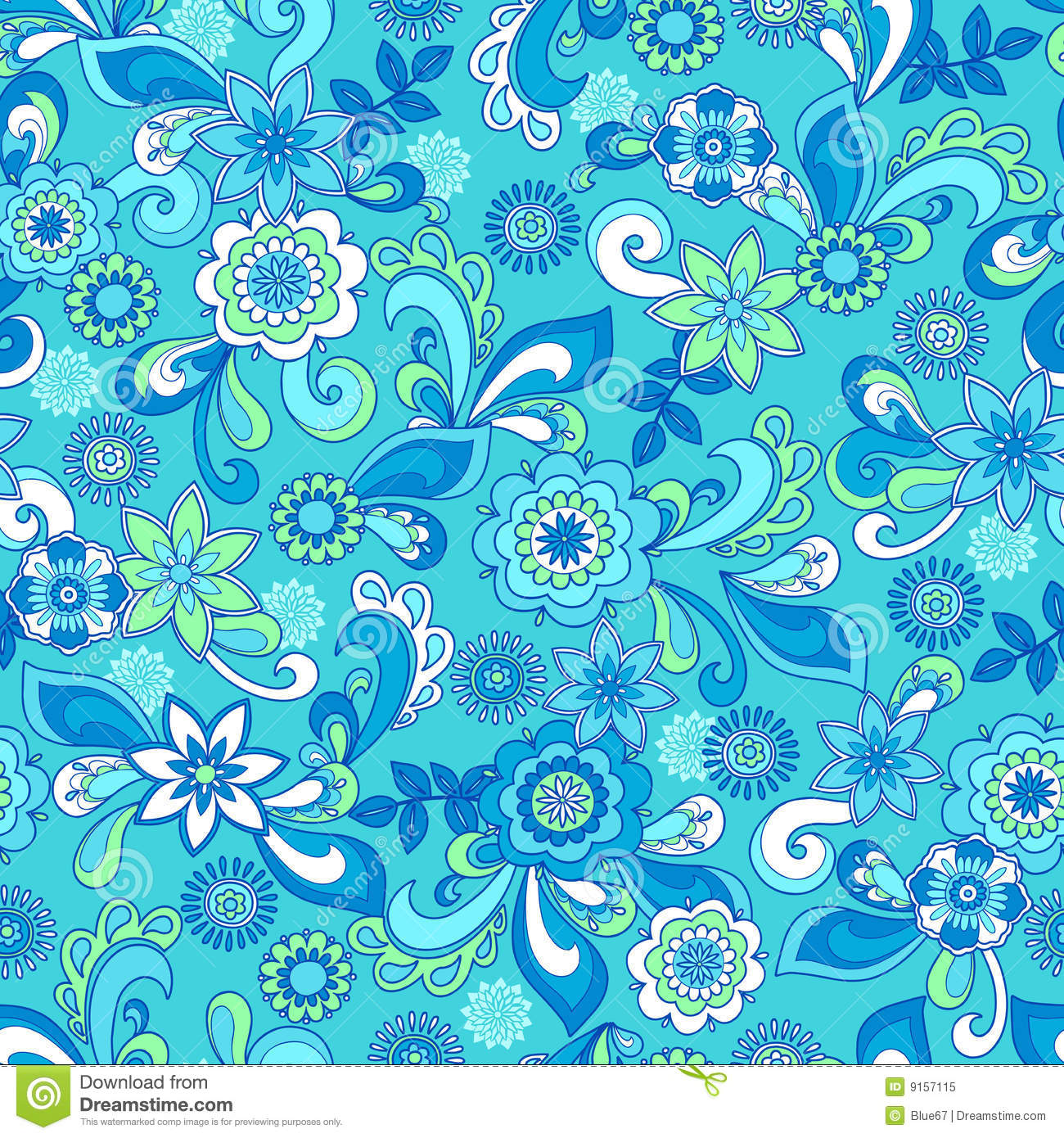 Funky Floral Seamless Repeat Pattern Royalty Free Stock ...