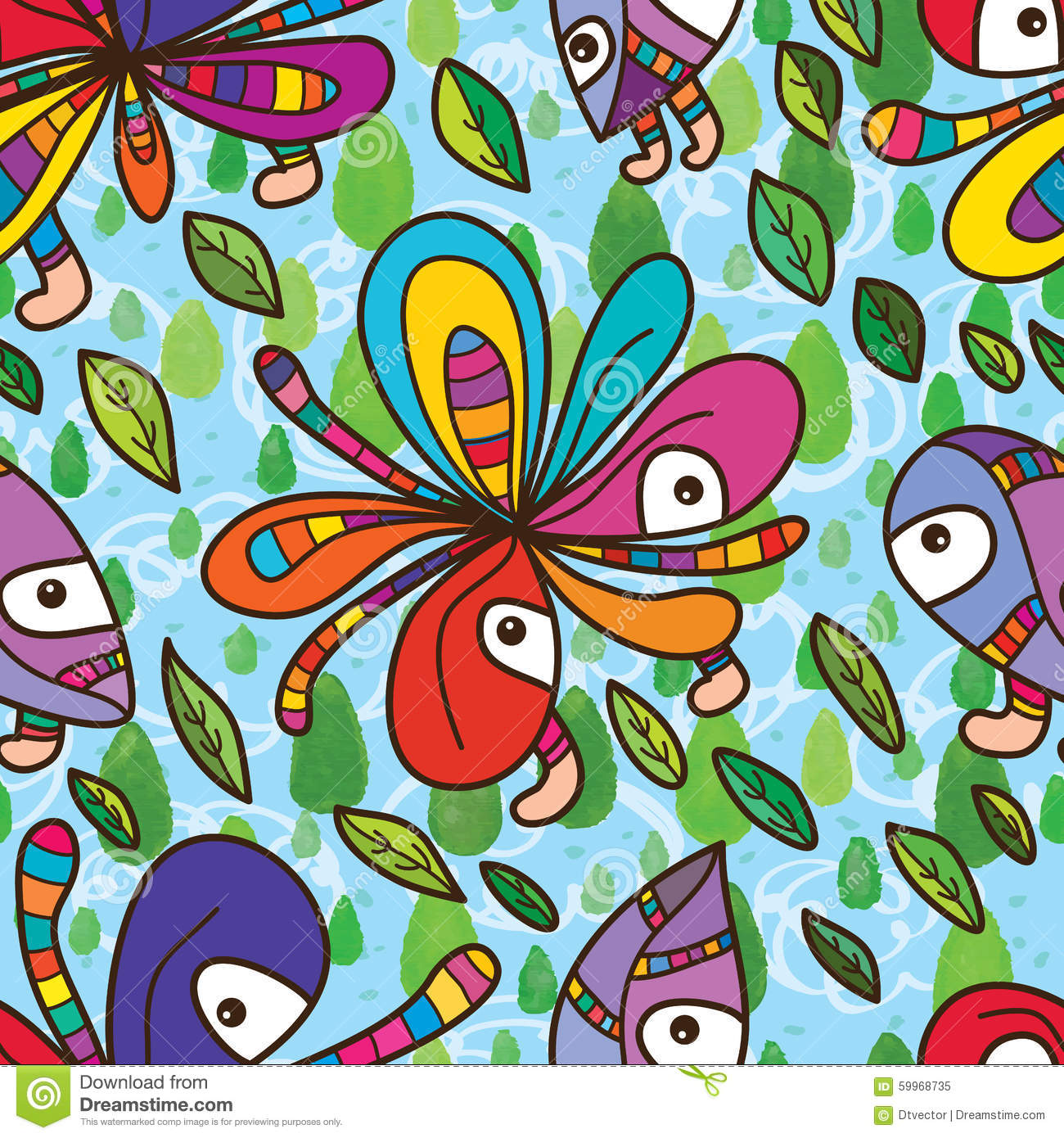 Funky Flower Mascot Fly Sky Seamless Pattern Stock Vector ...