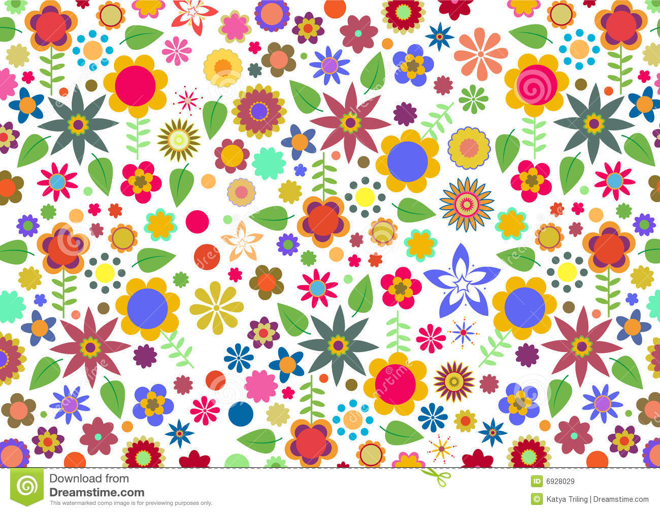 Funky Flowers And Leaves Abstract Pattern Stock Vector ...