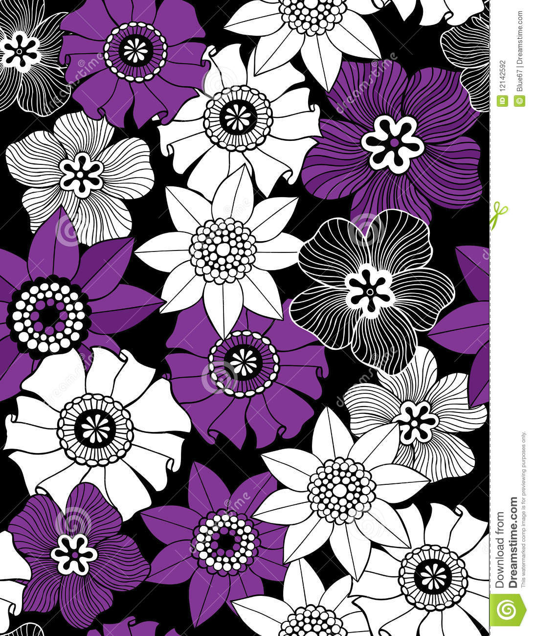 Funky Flowers Seamless Repeat Pattern Stock Photography ...