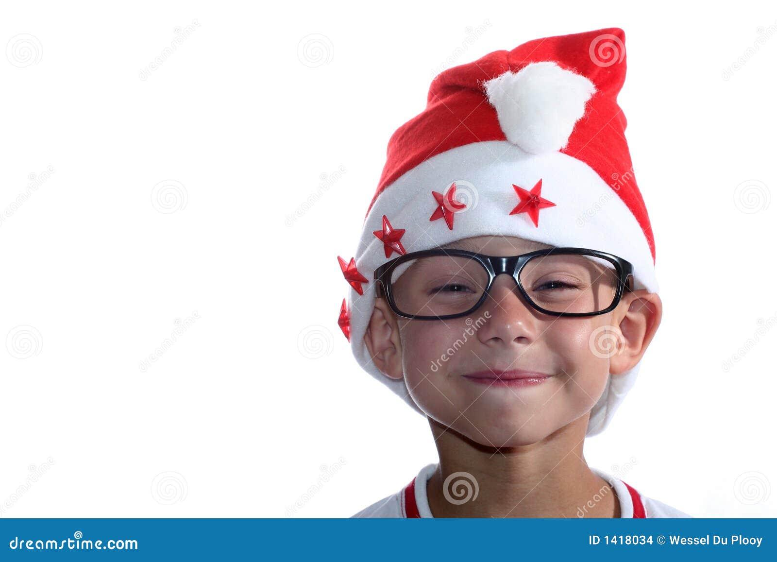 Funky jonge geitje van Kerstmis met glazen