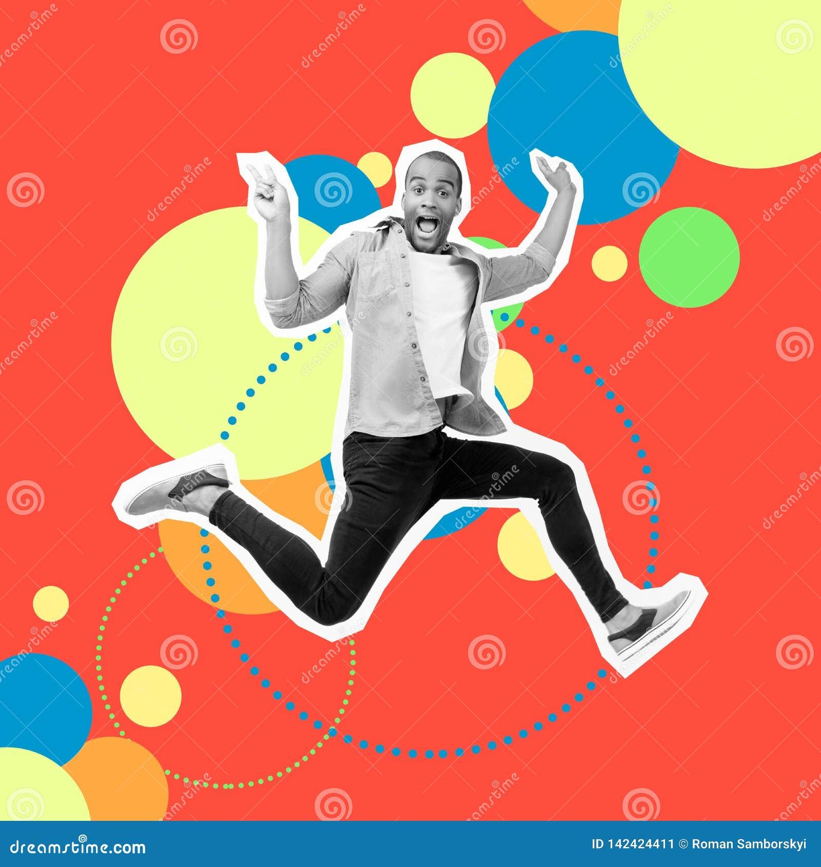 Funky louco do retrato seu ele indivíduo salta calças de brim que ocasionais da camisa do projeto estilizado futurista da ilustra