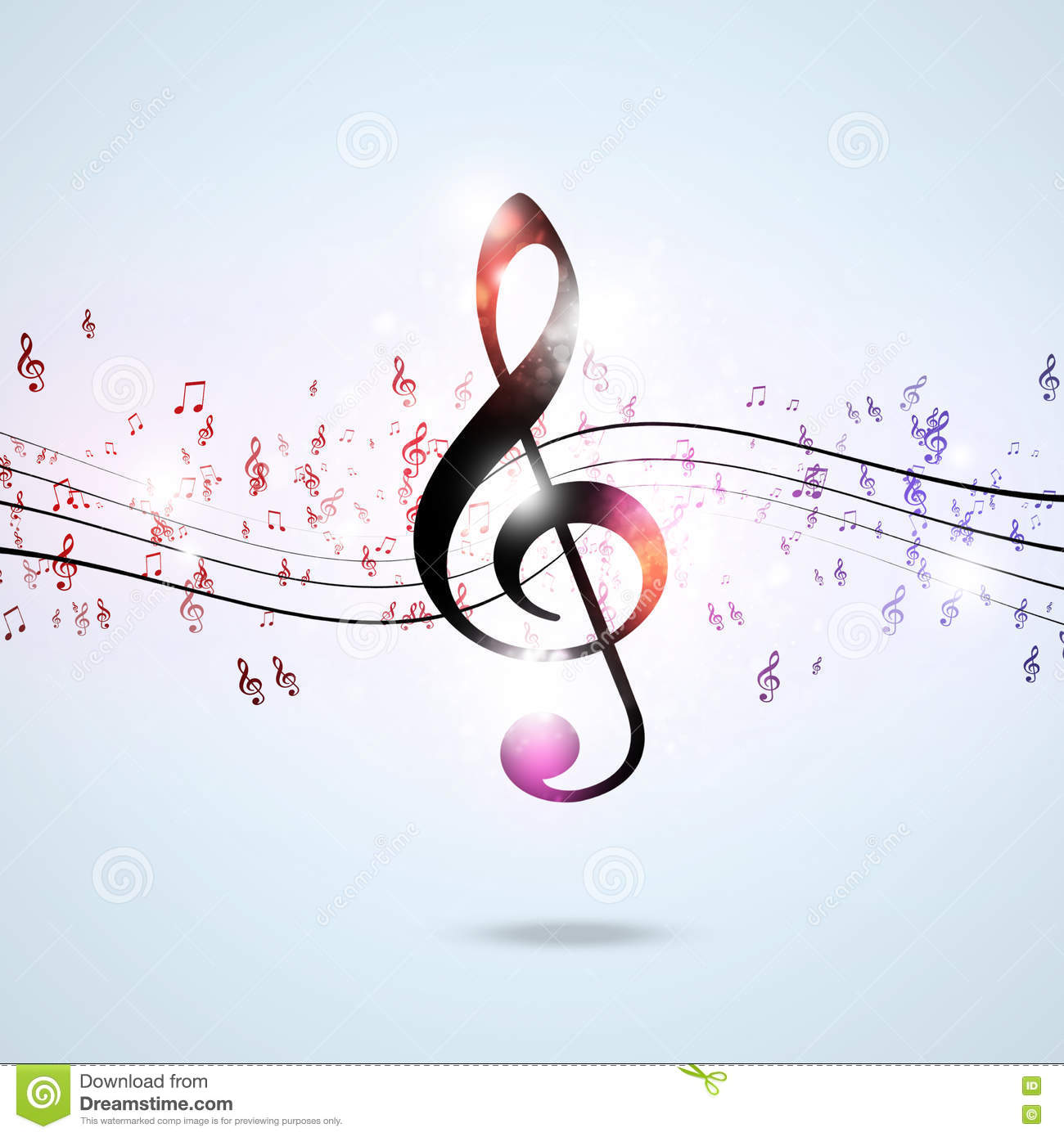 Funky Multicolor Music Notes Stock Illustration - Image ...
