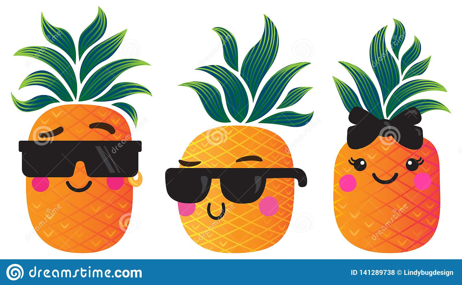 Funky Cartoon Pineapples With Groovy Leaves Stock Vector ...