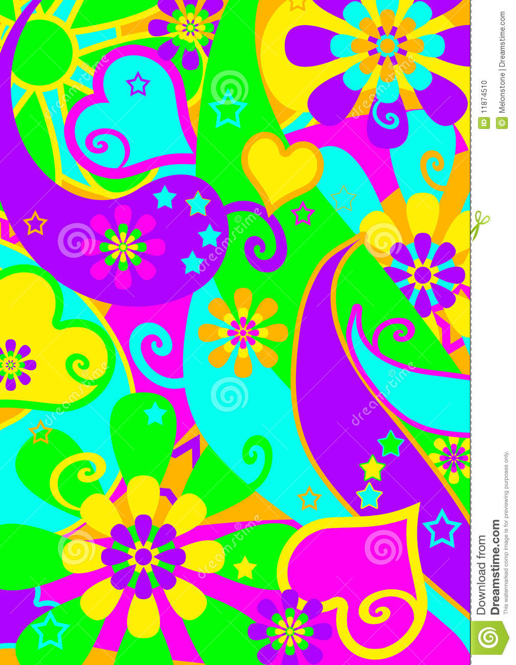 Funky Psychedelic Flower Power Pattern Illustration 11874510