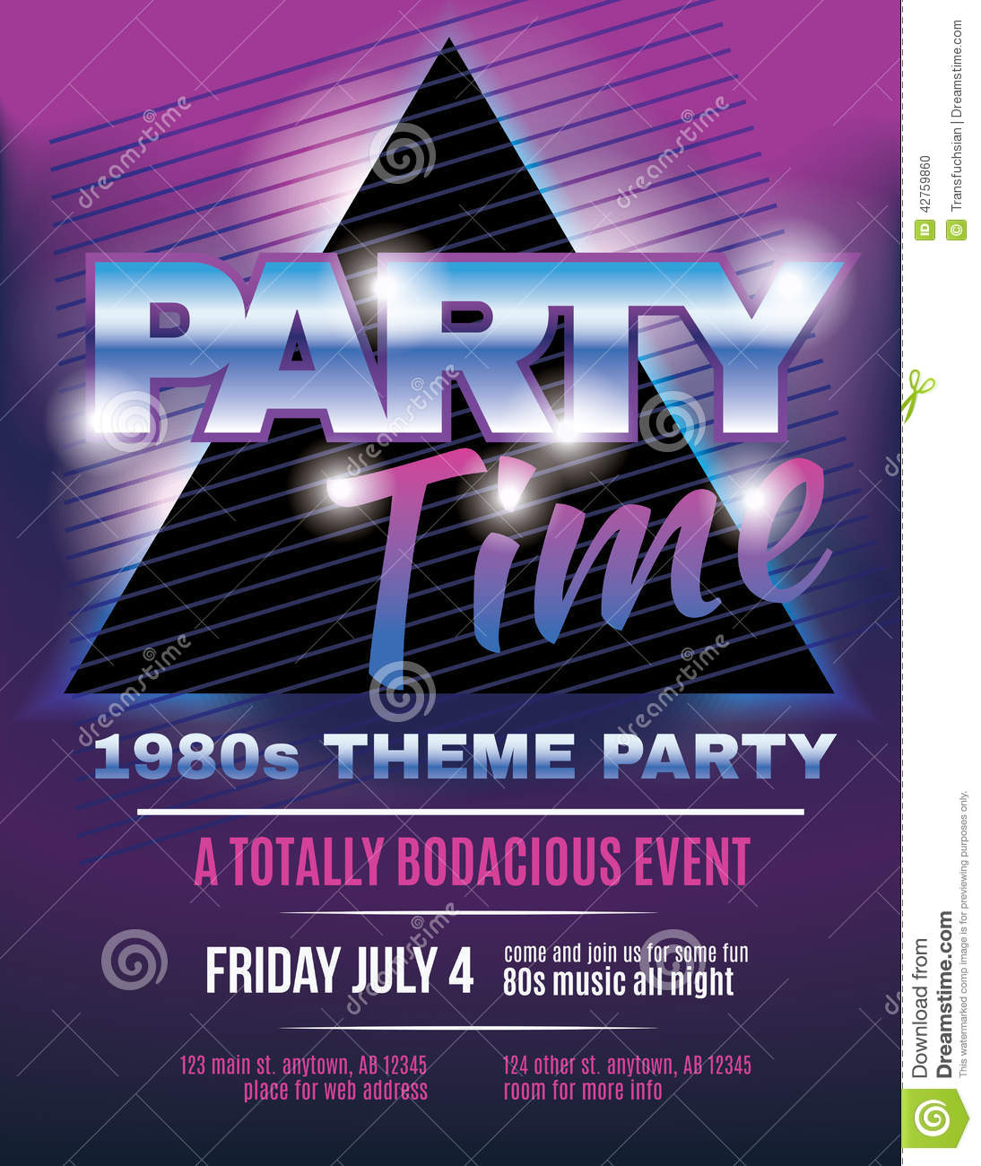 Funky 1980s Theme Party Flyer Template Invitation Stock Vector