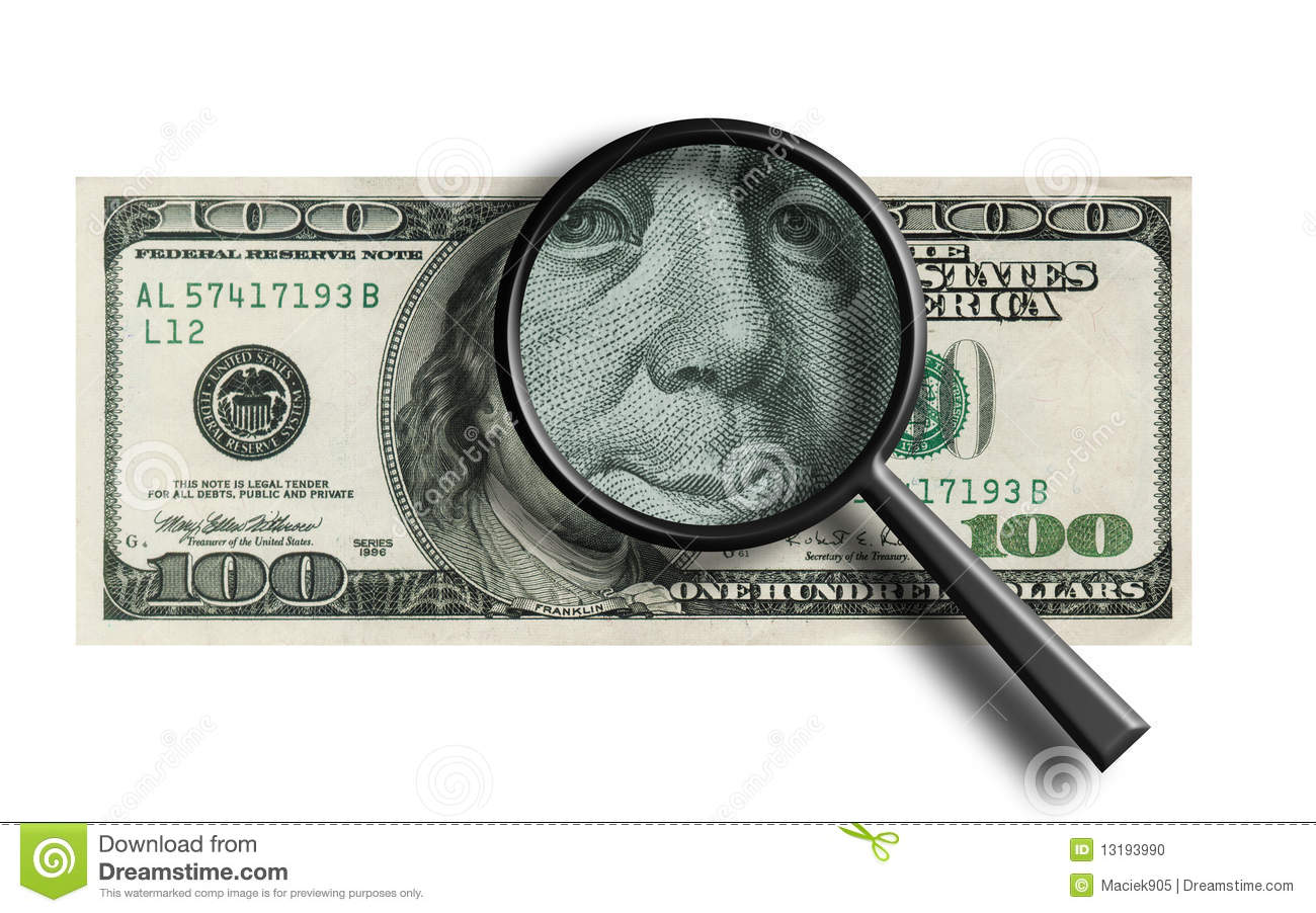 funny $100 banknote through the magnifier