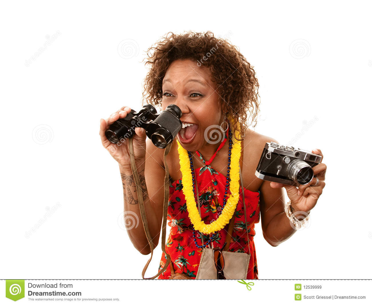 Funny African-American Tourist Stock Image