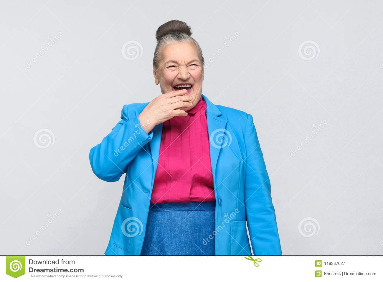 Funny aged woman laugh