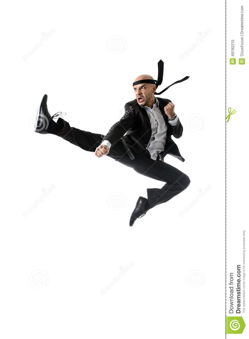Funny Aggressive Businessman Wearing Suit Jumping On The Air In Kung