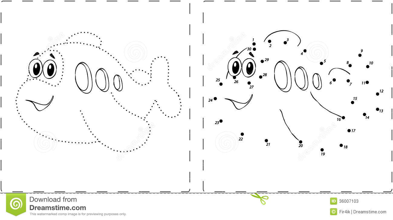 Unisci I Puntini Difficile: Funny Airplane Drawing With Dots And Digits Stock Photos