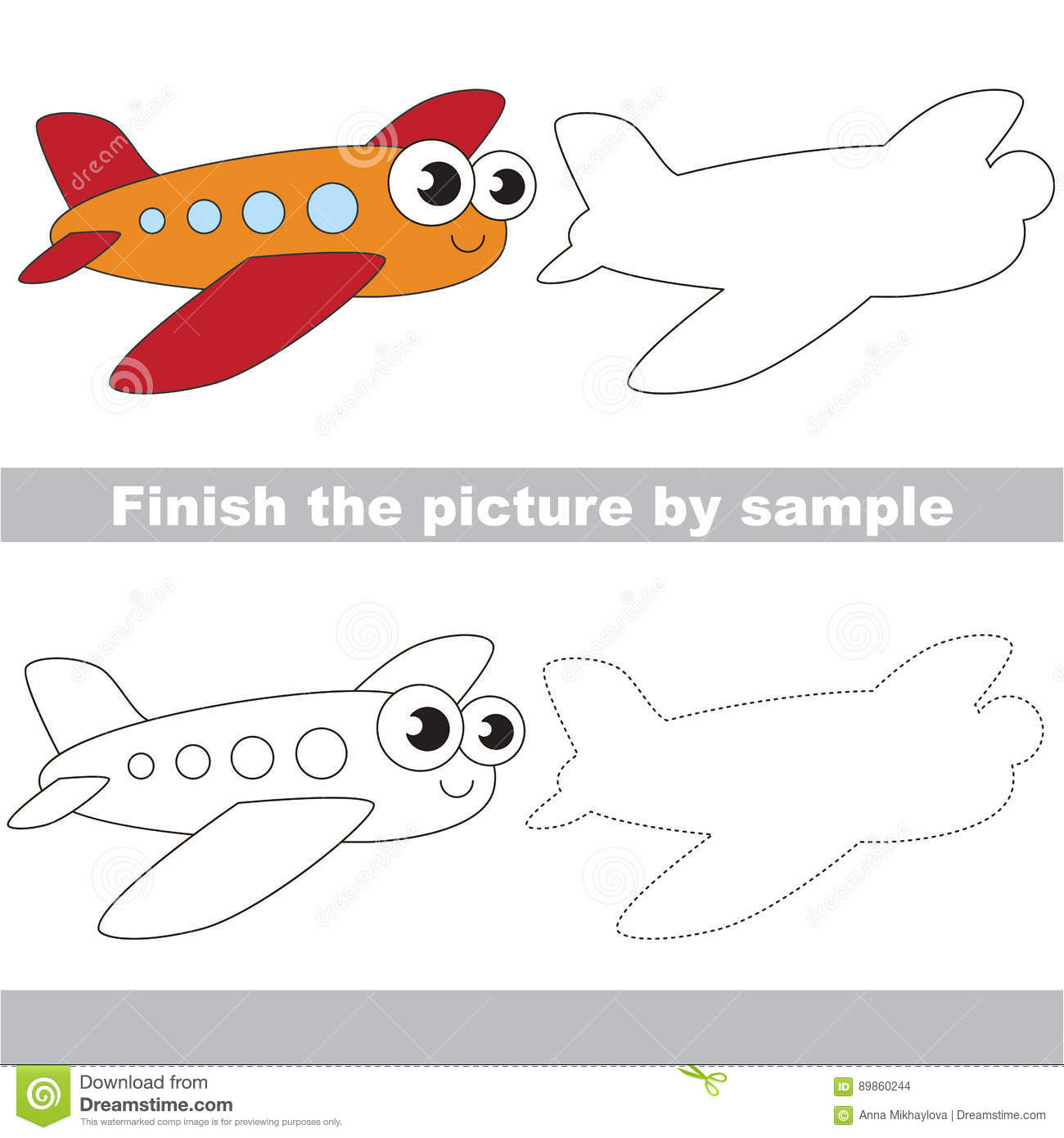 Funny Airplane Drawing Worksheet Stock Vector Illustration Of