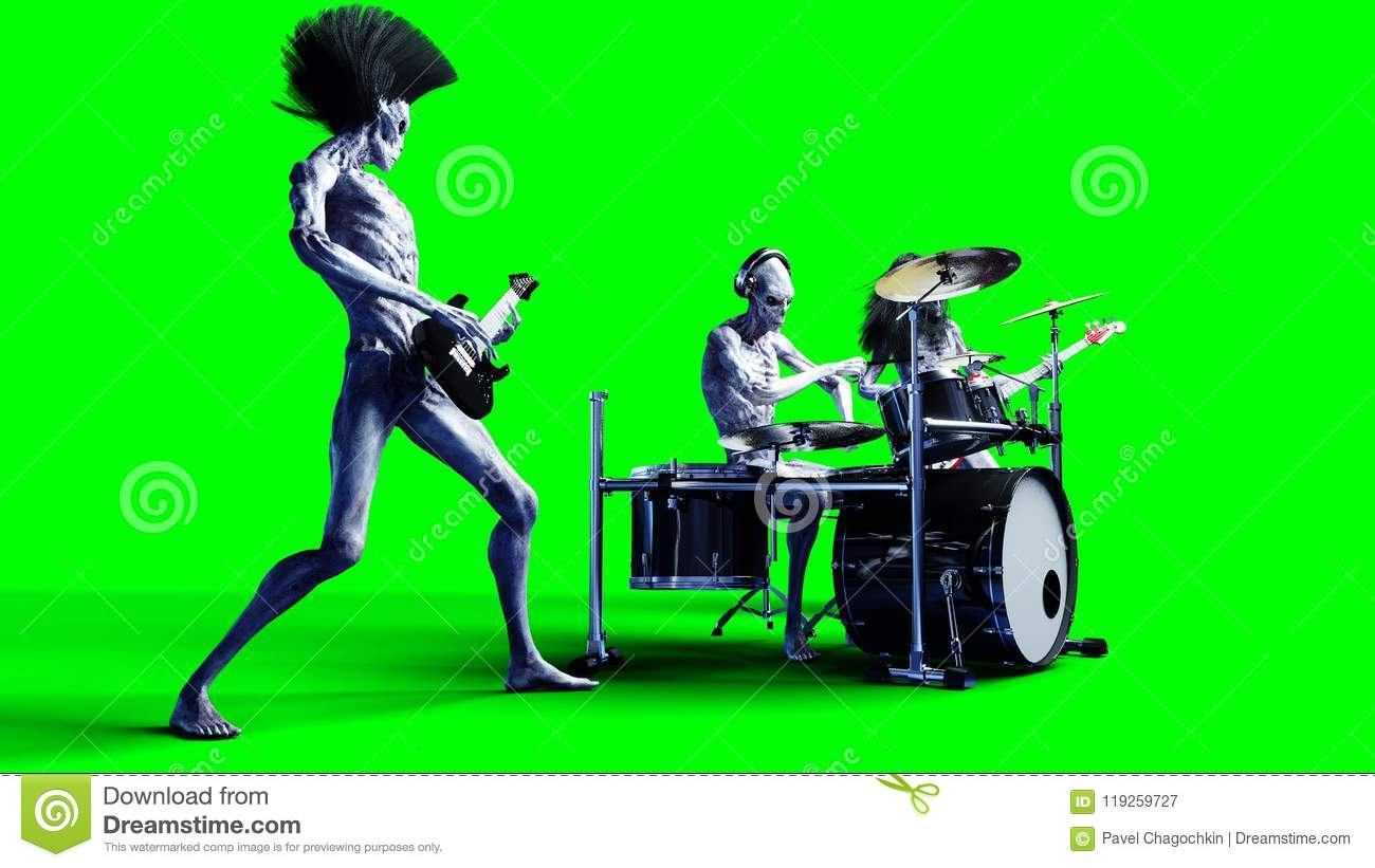 Funny alien rock band. Bass, drum, guitar. Realistic motion and skin shaders. 3d rendering.