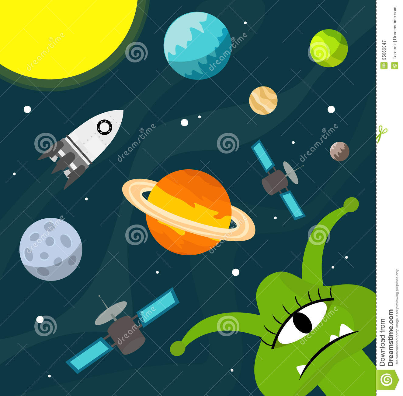Funny Alien In The Universe Vector Royalty Free Stock Photography Image 35666347