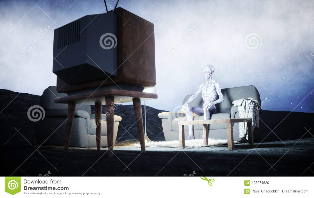 Enjoyable Funny Alien Watching Tv On The Sofa On The Moon Living On Andrewgaddart Wooden Chair Designs For Living Room Andrewgaddartcom