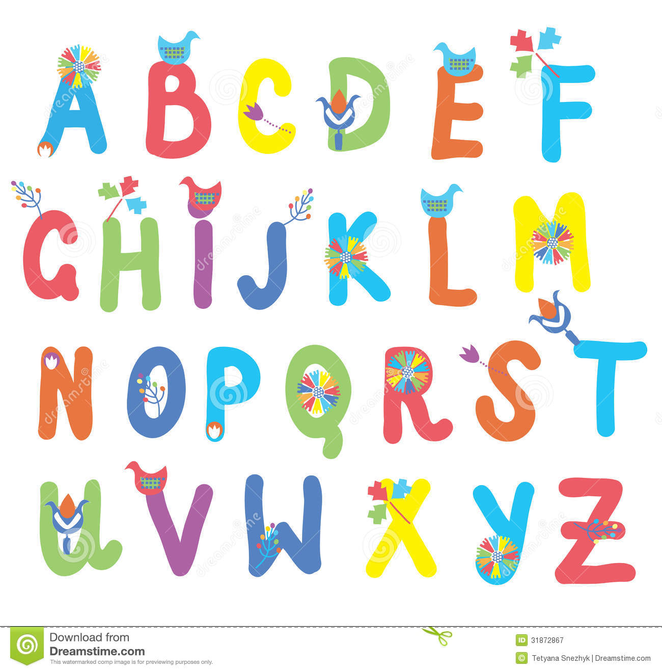 Funny Alphabet For Kids With Flowers Royalty Free Stock