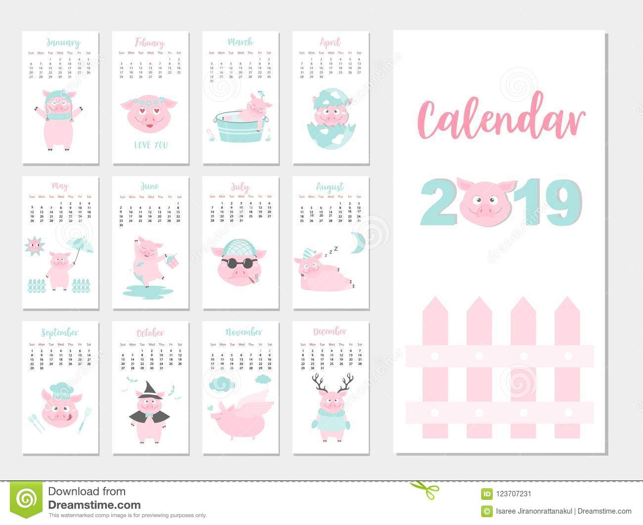 funny animal calendar 2019 design the year of the pig monthly cards